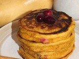 Butternut squash and cranberry pancakes