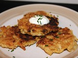 Celery root and parsnip latkes with horseradish sour cream