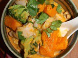 Chicken and kabocha squash red curry