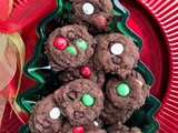 Chocolate holiday mint m&m cookies