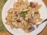 Farfelle with chicken, sun-dried tomatoes, and tarragon-cream sauce