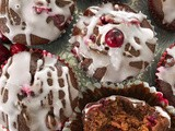 Glazed cranberry gingerbread muffins