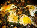 Potato and Swiss chard hash with eggs