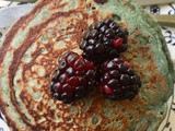 Purple sweet potato and blackberry pancakes