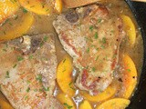Skillet peaches & cream pork chops