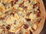 Three-cheese apple and bacon pizza