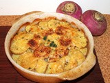 Turnip and Yukon gold potato gratin