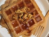 Whole wheat acorn squash waffles with walnut and cinnamon syrup