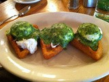 Brunch Bliss:  Eggs Benedict on Potato Waffles With Spinach Parmesan Sauce