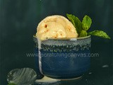 Peach Buttermilk Sorbet | No Churn Eggless Ice-cream