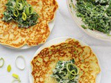 Leek Pancakes with Spinach, Kale & Ricotta