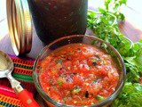 Authentic Chunky Roasted Salsa with Tomatoes, Tomatillos, Garlic and Chiles de Arbol