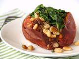 Baked Sweet Potatoes with Cannellinis and Baby Spinach #WeekdaySupper #Giveaway