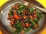 Lamb Skillet with Spelt, Spinach, Rosemary and Raisins for #WeekdaySupper