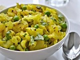 Cabbage Potato and Green Peas Stir Fry - Kobichi Bhaji