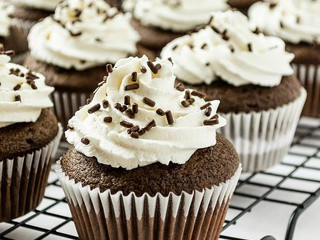 Chocolate Cupcakes with Whipped Cream Frosting