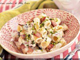 Pasta with mortadella ricotta and pistachio