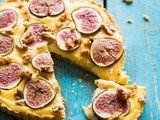 Custard tart with figs and roasted marzipan