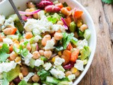 Mixed bean salad with roquefort