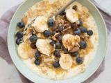 Quinoa breakfast bowl with nuts and banana