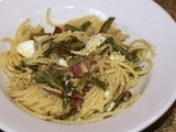 Bacon & Egg Asparagus Spaghetti #Foodie Friday