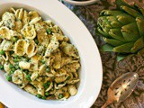 Pasta with Artichokes, Peas, and Mint Pesto from Eating Rome: Living the Good Life in the Eternal City #Weekly Menu Plan
