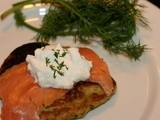 Smoked Salmon w/ Sour Cream over Swiss Chard Pancake  #Foodie Friday