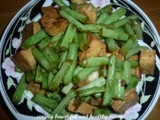 Stir Fried French Beans with Fried Tofu and Preserved Radish