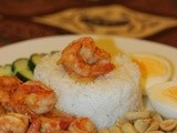 Sambal Belacan Shrimps with Onion, Egg, Cucumber and Peanut