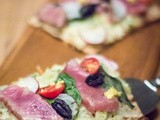 Ahi Tuna Pizzas with Mozzarella and Basil