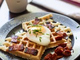Smoked Salmon Waffles with Poached Egg