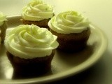 Quinoa Raisin Muffins with Lime Curd Whipped Cream Frosting