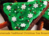 Homemade Traditional Christmas Tree Brownies