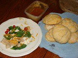 Meal Idea: Spinach salad, Sautéed chicken strips, Biscuits, Whipped honey, Mixed fruit