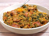 Lentils with Smoked Sausage and Spinach Stew