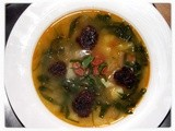 Wild Garlic and Chorizo Soup with Black Pudding