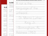 Black History: mlk Handwriting Worksheets (grades 1-2)