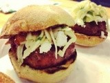 Lamb Burgers with Bacon Tomato Jam, Goat Cheese and Fennel Mint Slaw