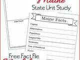 Maine State Fact File Worksheets