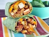 Chipotle tofu potato burrito with chipotle mayo