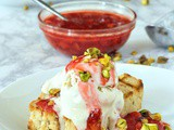 Grilled Vanilla Pint Cake with Strawberry Sauce and Pistachio