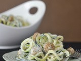 Lemon caper pasta with goat cheese croutons