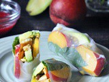 Savory Sweet Summer Rolls with Raspberry Ginger Sauce
