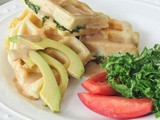 Tahini kale chiffonade and stuffed waffles
