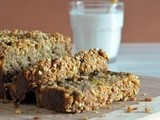 Tropical banana bread with sugared macadamia crumble