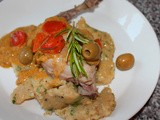Rabbit in White Wine with Corn Polenta