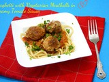 Spaghetti with Vegetarian Meatballs in Creamy Tomato Sauce