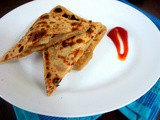 Stuffed Cheese Paratha with Spicy Potato Wedges