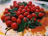 Cherry Tomatoes and Ricotta baked Crostini