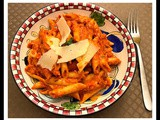Roasted red bellpepper penne pasta
